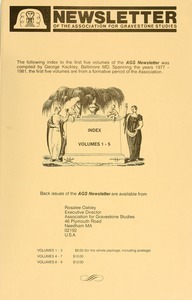 Newsletter of the Association for Gravestone Studies: Index to Vols. 1-5