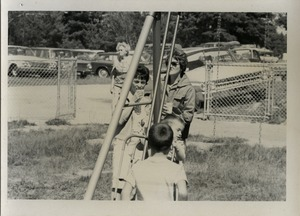 Children on the swingset at the picnic, Pine Beach