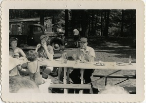 At the picnic table, Pine Beach