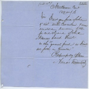 Letter from Amos Townsend to unidentified correspondent