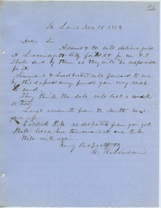Letter from Charles Robinson to unidentified correspondent