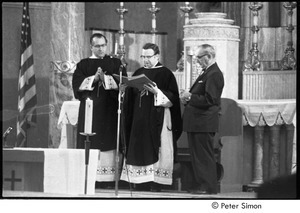Jack Kerouac's funeral: church service, Father Armand Morrissette at center