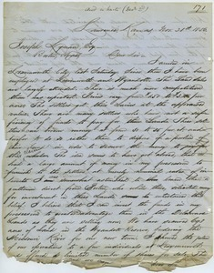 Letter from Charles Robinson to Joseph Lyman