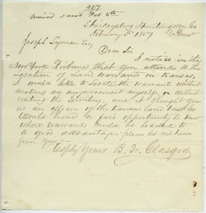 Letter from B. F. Gleasgrow to Joseph Lyman