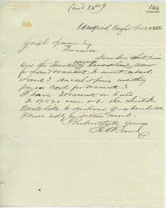 Letter from A. P. Rand to Joseph Lyman