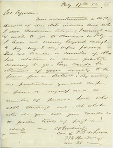Letter from C. Burling to Joseph Lyman