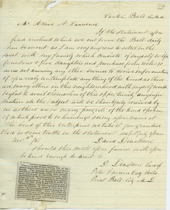 Letter from David Dinsmore to Amos Adams Lawrence