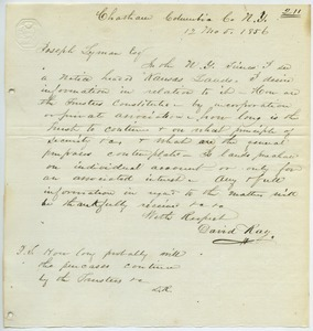 Letter from David Ray to Joseph Lyman