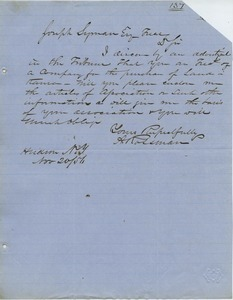 Letter from A. Rossman to Joseph Lyman