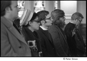 Jack Kerouac's funeral: church service, mourners including Peter Orlovsky (third-from-right) and John Clellon Holmes (right)