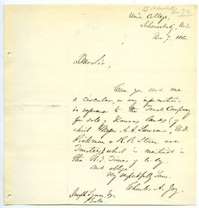 Letter from Charles A. Joy to Joseph Lyman
