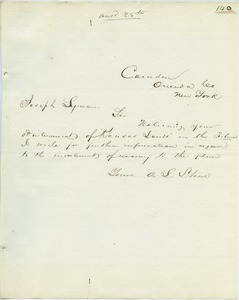 Letter from A. L. Stone to Joseph Lyman