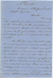 Letter from A. L. Williams to Joseph Lyman