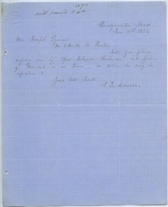 Letter from J. E. Carver to Joseph Lyman