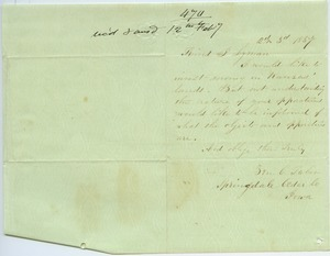 Letter from Ben C. Taber to Joseph Lyman