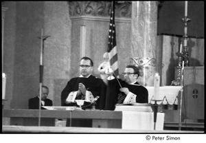 Jack Kerouac's funeral: church service, Father Armand Morrissette (right)