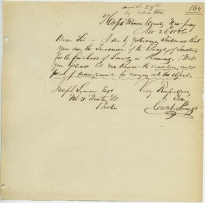 Letter from Caleb Sway to Joseph Lyman