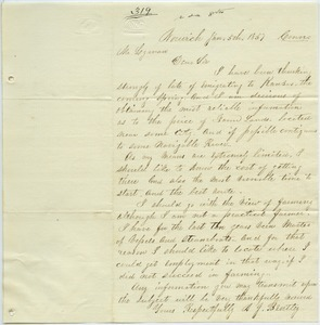 Letter from A. J. Bentley to Joseph Lyman