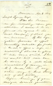 Letter from E. H. Ball to Joseph Lyman