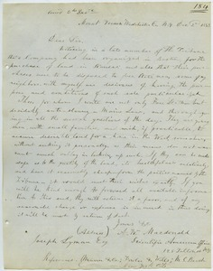 Letter from A. W. MacDonald to Joseph Lyman