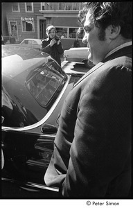 Jack Kerouac's funeral: Jimmy Breslin, Jeff Alberston in background with camera