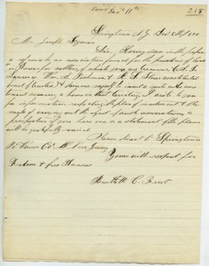 Letter from Bartlett C. Srout to Joseph Lyman
