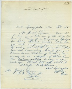 Letter from A. M. Shane to Joseph Lyman