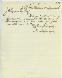 Letter from Amos Townsend to Joseph Lyman