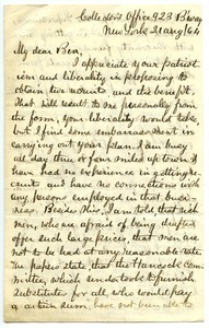 Letter from James Fowler Lyman to Benjamin Smith Lyman