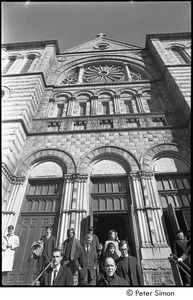 Jack Kerouac's funeral: mourners leaving church, Peter Orlovsky (with beard) and John Clellon Holmes (center)