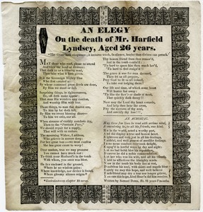 An elegy on the death of Mr. Harfield Lyndsey, aged 26 years [and] An acrostic