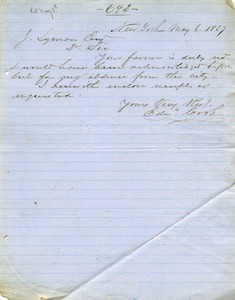 Letter from Edward Cook to Joseph Lyman