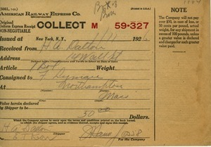 Receipt from American Railway Express Co. to Howard A. Dalton