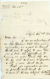 Letter from Charles Wilcox to Joseph Lyman