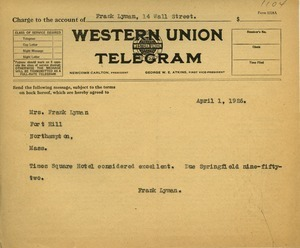 Letter from Florence Lyman to Frank Lyman