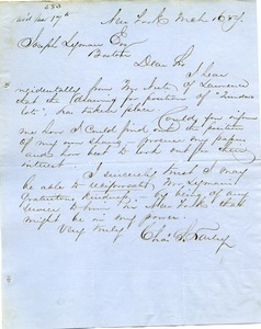 Letter from Charles S. Hauley to Joseph Lyman