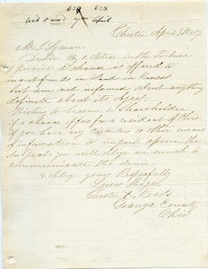 Letter from Lewis Mizer to Joseph Lyman