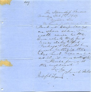 Letter from Sarah Peller to Joseph Lyman