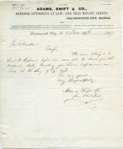 Letter from Adams, Swift and Co. to Joseph Lyman