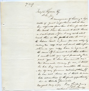 Letter from J. R. Amory to Joseph Lyman
