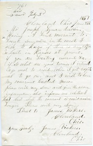 Letter from James Vickers to Joseph Lyman