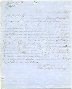 Letter from Clark M. Saunders to Joseph Lyman