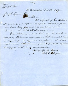 Letter from Chester W. Chapin to Joseph Lyman