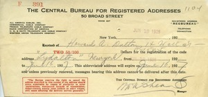 Address registry confirmation to Howard A. Dalton