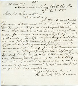Letter from Roderick R. Williams to Joseph Lyman