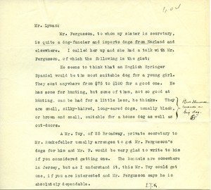 Letter from Clarion Kennels to Frank Lyman