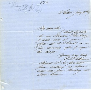 Letter from William Dudley Pickman to Joseph Lyman