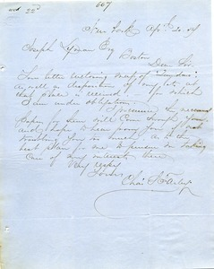 Letter from Charles Hawley to Joseph Lyman