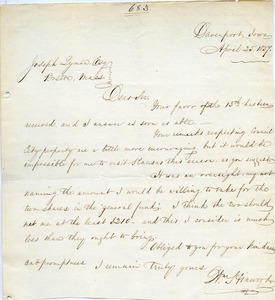 Letter from William Hinwood to Joseph Lyman