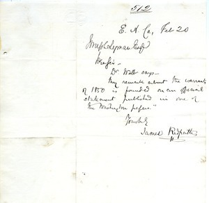Letter from James Redpath to Joseph Lyman